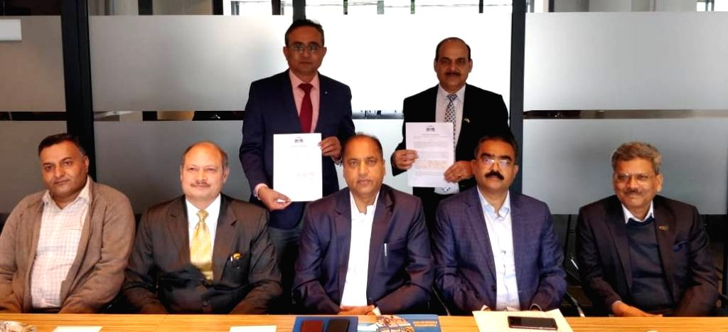 The Hague: Himachal Pradesh Chief Minister Jai Ram Thakur during the signing of an MoU with ASSOCHAM Europe to strengthen and expand in the area of agriculture, horticulture, logistic and ... - Jai Ram Thakur