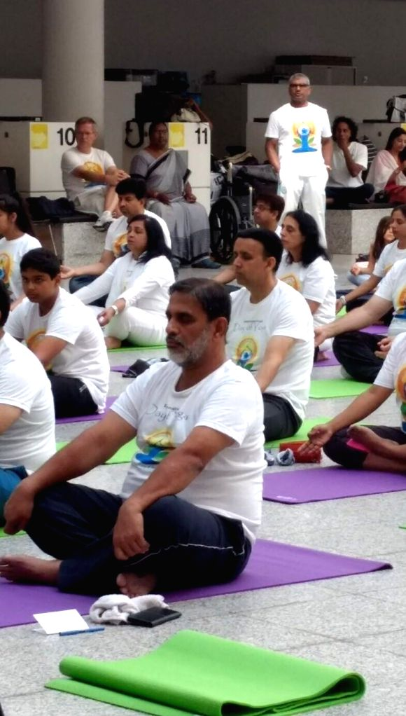 The Hague: India's Ambassador to the Netherlands Venu Rajamony during the 3rd International Day of Yoga celebrations in The Hague on June 18, 2017.