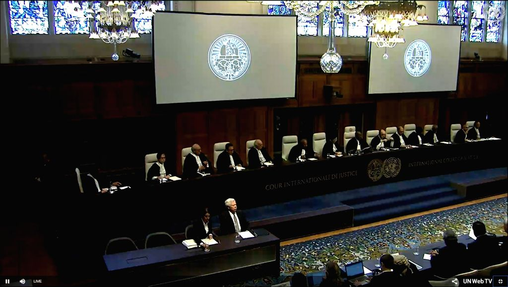 The Hague: Kulbhushan Jadhav case proceedings begin at ICJ at The Hague, Netherlands on July 17, 2019. (Photo: IANS/UN)