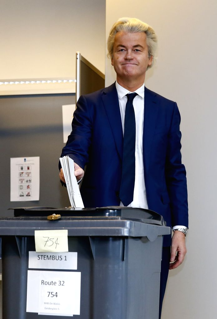 THE HAGUE, March 15, 2017 - Far-right Party for Freedom (PVV) leader Geert Wilders casts ballot in the parliament elections at a polling station in The Hague, the Netherlands, March 15, 2017.