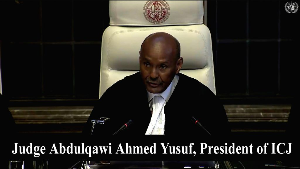 The Hague: President of ICJ, Judge Abdulqawi Ahmed Yusuf delivers judgment on the merits in the Kulbhushan Jadhav case at ICJ at The Hague, Netherlands on July 17, 2019. (Photo: IANS/UN)