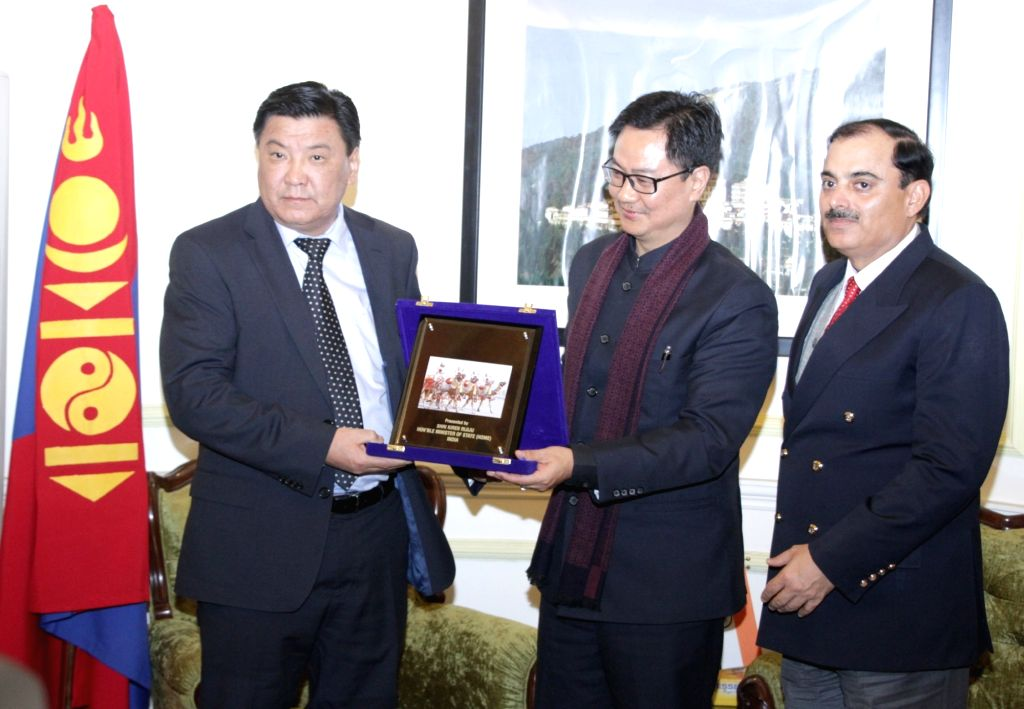 The Head of General Authority for Border Protection, Mongolia, Major General Sergelen Ts calls on Union Minister of State for Home Affairs Kiren Rijiju in New Delhi on Jan 13, 2017. Also ... - K. Sharma