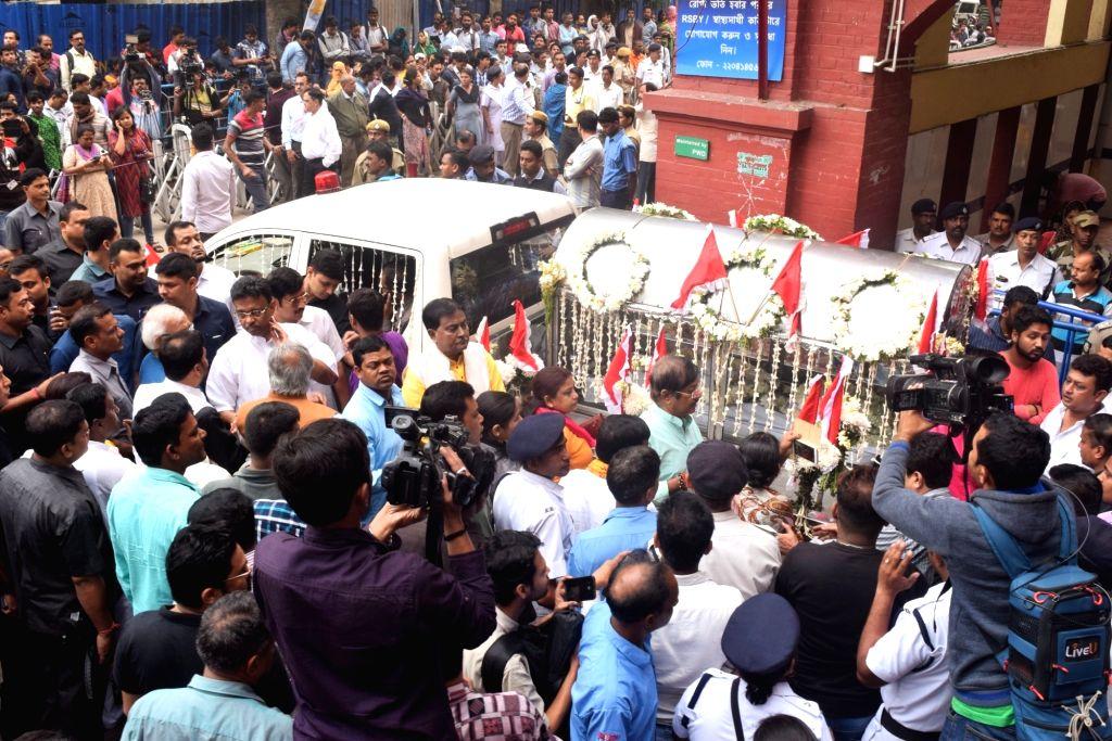 The hearse carrying mortal remains of Matua matriarch Binapani Devi, popular as 'Boroma', who passed away following multi-organ failure at the state-run SSKM Hospital, in Kolkata, departs ...