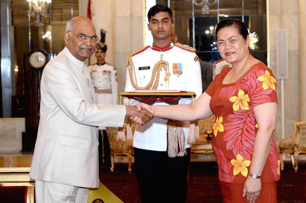 The High Commissioner - Designate of Independent State of Samoa, Faalavaau Perina Jaqueline Sila-Tualaulelei with President Ram Nath Kovind during the presentation of credentials at ... - Nath Kovind