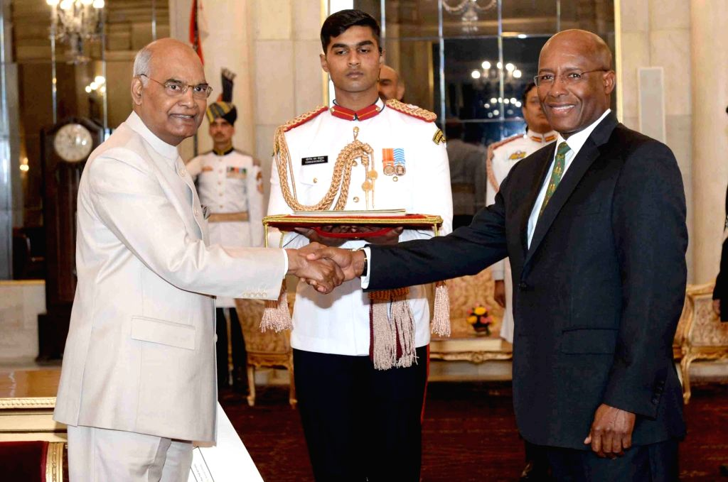 The High Commissioner - Designate of Jamaica, Aubyn Hill with President Ram Nath Kovind during the presentation of credentials at Rashtrapati Bhavan in New Delhi on May 31, 2018. - Nath Kovind