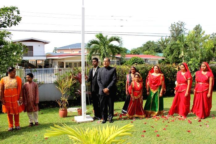 The High Commissioner (HC) of India to Trinidad and Tobago, Gauri Shankar Gupta,  hoists the tricolour on India's 69th Independence day in Trinidad. - Shankar Gupta