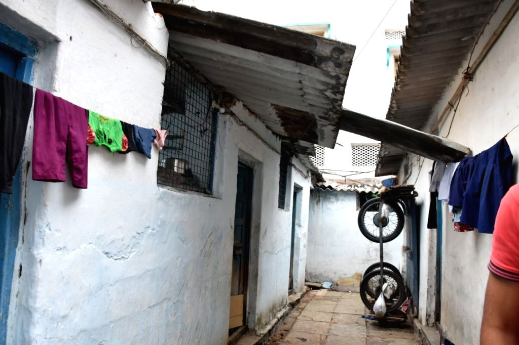 The house where a gas cylinder exploded in Warasiguda under Chilakalaguda police station limits of Hyderabad, injuring six people, on Feb 9, 2020.