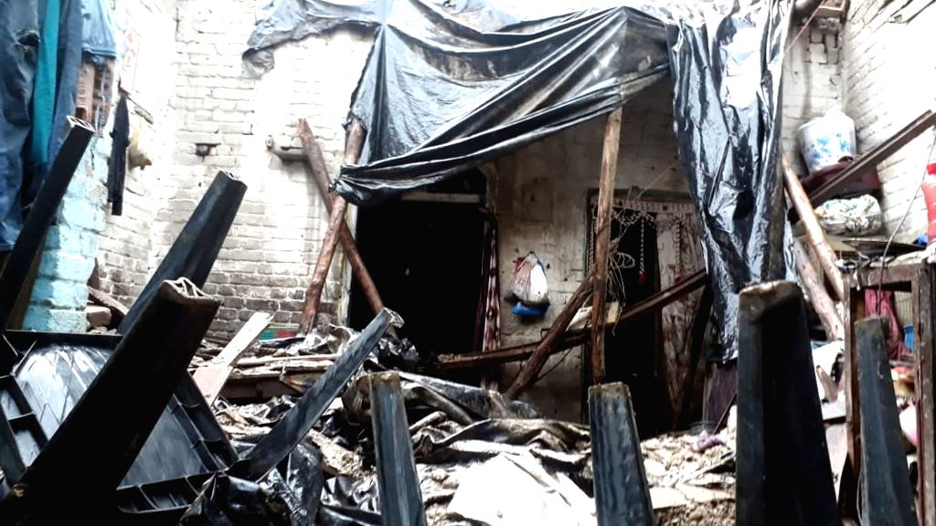 The house where two children died and five sustained injuries after its roof collapsed following heavy rains, in Uttar Pradesh Moradabad on July 16, 2019.