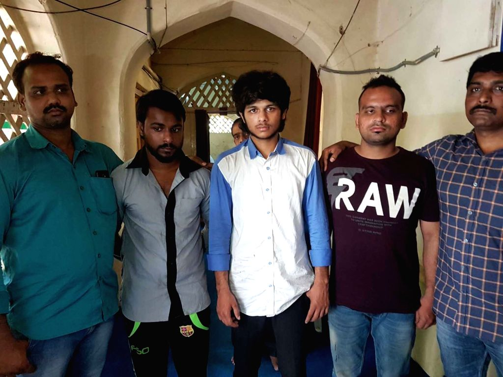 The Hyderabad police presents before press the three men who assaulted an employee of a snooker parlour located in Purani Haveli in Hyderabad on Sept 7, 2017.