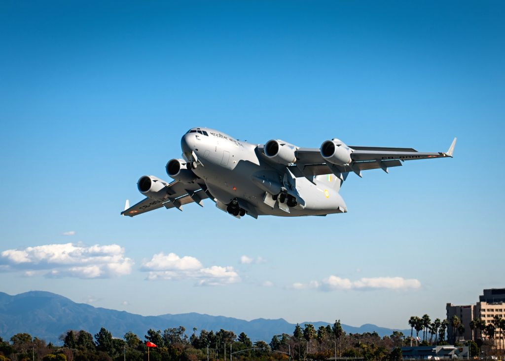 The IAF's first C-17 during its flight trials in the US. (Photo: India Strategic)