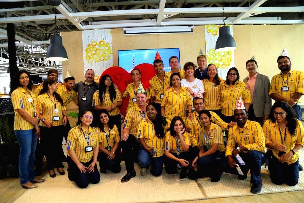 The IKEA Hyderabad team on the first anniversary of IKEA's Hyderabad store, on Aug 9, 2019.