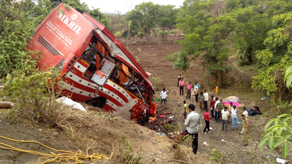 The ill fated bus that met with an accident  on the Mumbai-PuneExpressway (E-Way) near Panvel of Maharashtra on June 5, 2016. At least 17persons were killed and 21 others injured in the ...