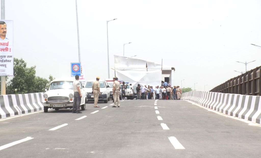 The inauguration of the newly constructed Rao Tula Ram (RTR) Flyover underway at Outer Ring Road near Munirka in New Delhi, on July 16, 2019.