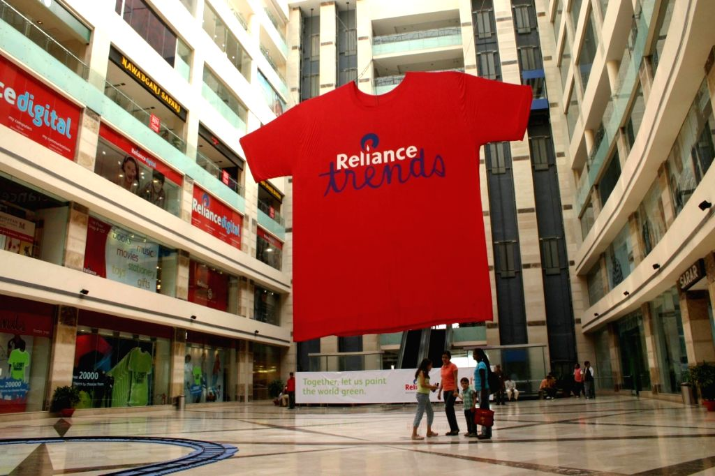 The India's largest T-shirt at Ambience Mall Gurgaon (40ft high and 30ft wide) created by Reliance Trends, on Friday.