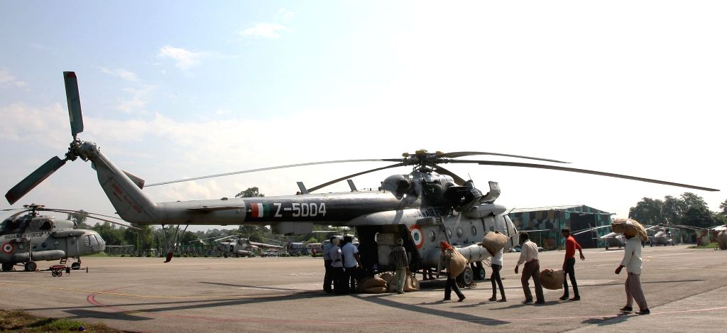 The Indian Air Force helicopter during the flood relief operations at Jammu of Jammu and Kashmir, on September 07, 2014.