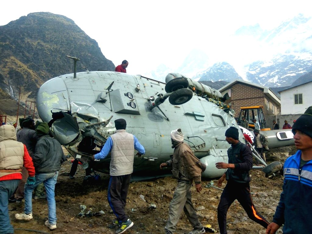 The Indian Air Force (IAF) helicopter that crash-landed in Kedarnath on April 3, 2018. The accident took place when the MI-17 chopper was trying to land far from the Kedarnath shrine.