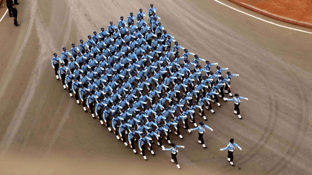 The Indian Air Force marching contingent passing through Rajpath during the full dress rehearsal for the Republic Day Parade 2018, in New Delhi Jan 23, 2018.