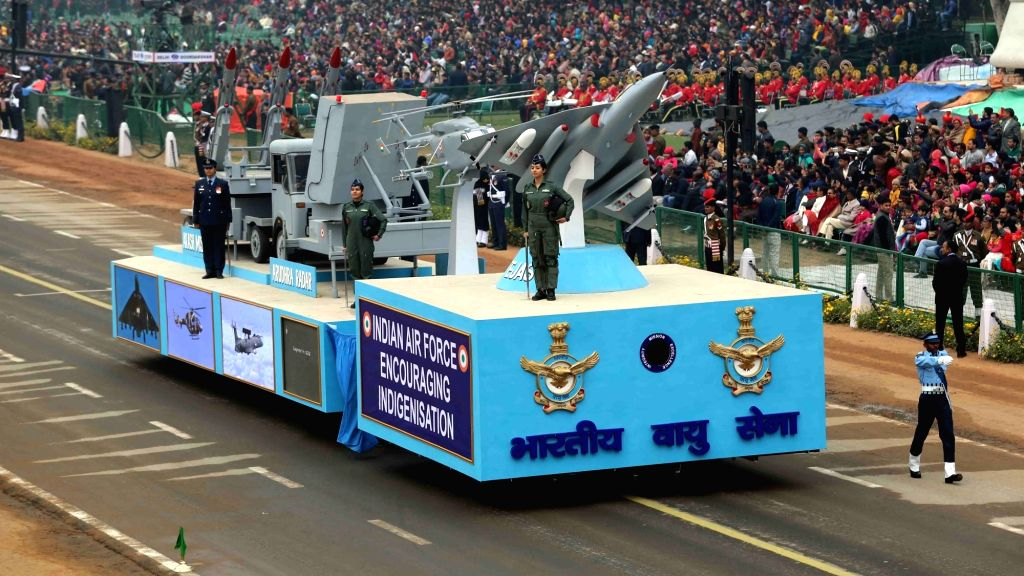 The Indian Air Force tableau at the Rajpath during the full dress rehearsal for the Republic Day Parade 2018, in New Delhi Jan 23, 2018.