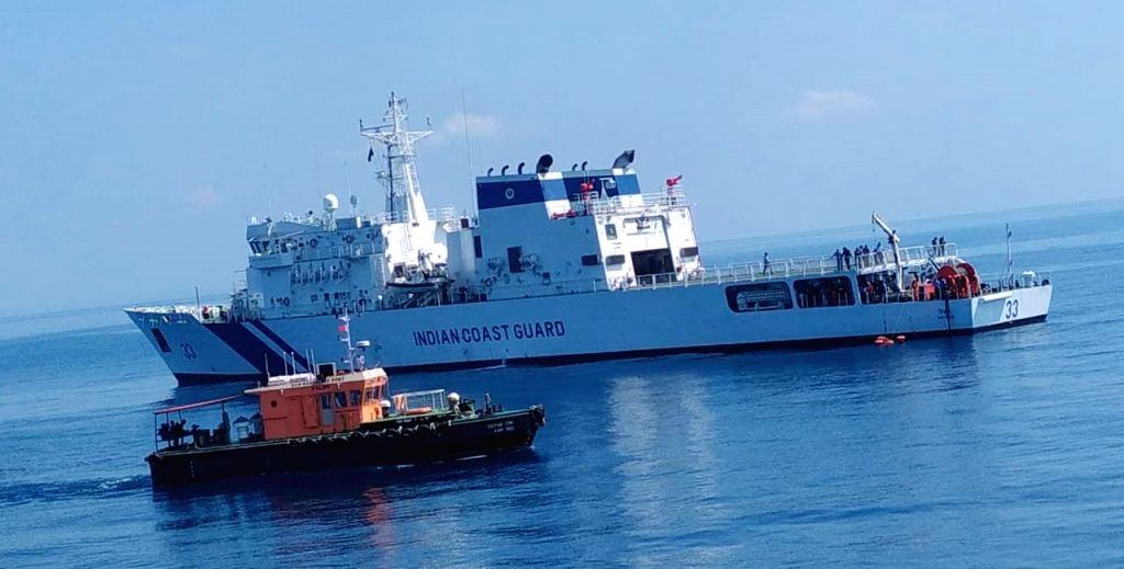 The Indian Coast Guard (ICG) conducts two days pollution response exercise to evaluate capabilities of Stake Holders, at New Manglore Port in Mangaluru, Karnataka, on Nov 15, 2019. ...