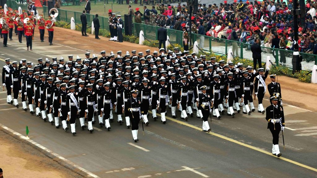 The Indian Coast Guard marching contingent passing through Rajpath during the full dress rehearsal for the Republic Day Parade 2018, in New Delhi on Jan 23, 2018.