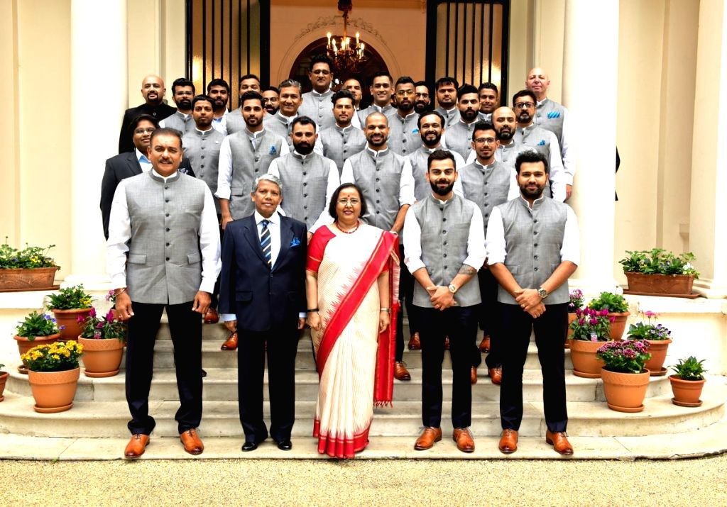 The Indian Cricket team meets India's High Commissioner to the UK, Ruchi Ghanashyam at her residence in London, on June 7, 2019.