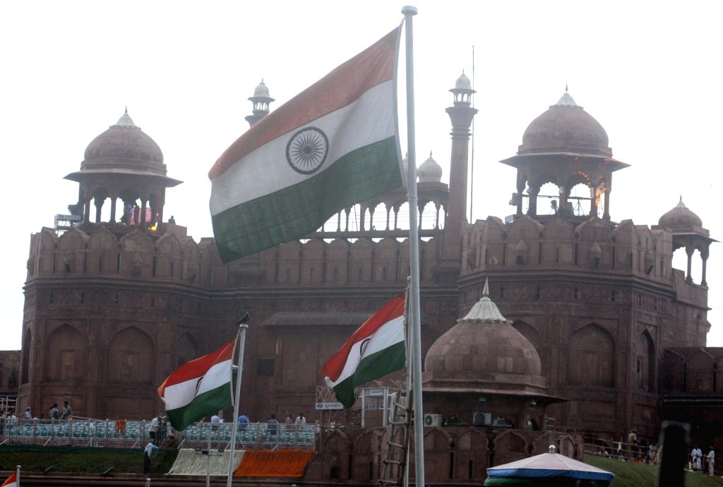 The Indian flag at the Red Fort on the eve of Independence Day in New Delhi on August 14, 2013. (Photo::: IANS)