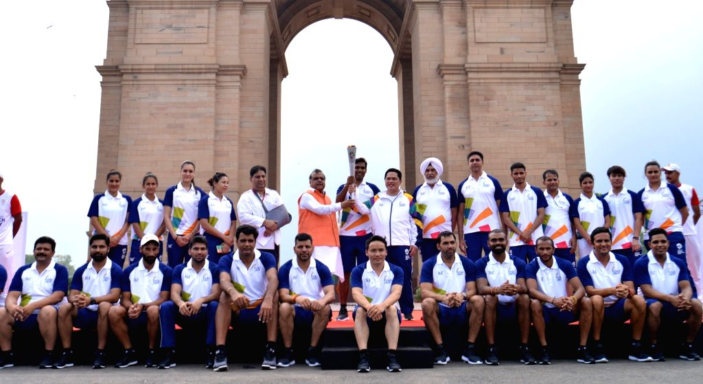 The Indian Hockey Team at the 18th Asian Games Jakarta-Palembang 2018 torch relay that commenced from Major Dhyanchand National Stadium, in New Delhi on July 15, 2018.