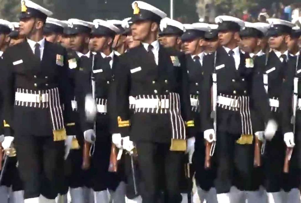 The Indian Naval contingent marches down the Rajpath during the 71st Republic Day parade, in New Delhi on Jan 26, 2020.