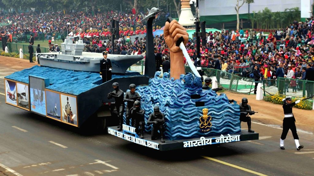 The Indian Navy tableau showcasing stealth and striking capabilities at Rajpath during the full dress rehearsal for the Republic Day Parade 2018, in New Delhi Jan 23, 2018.