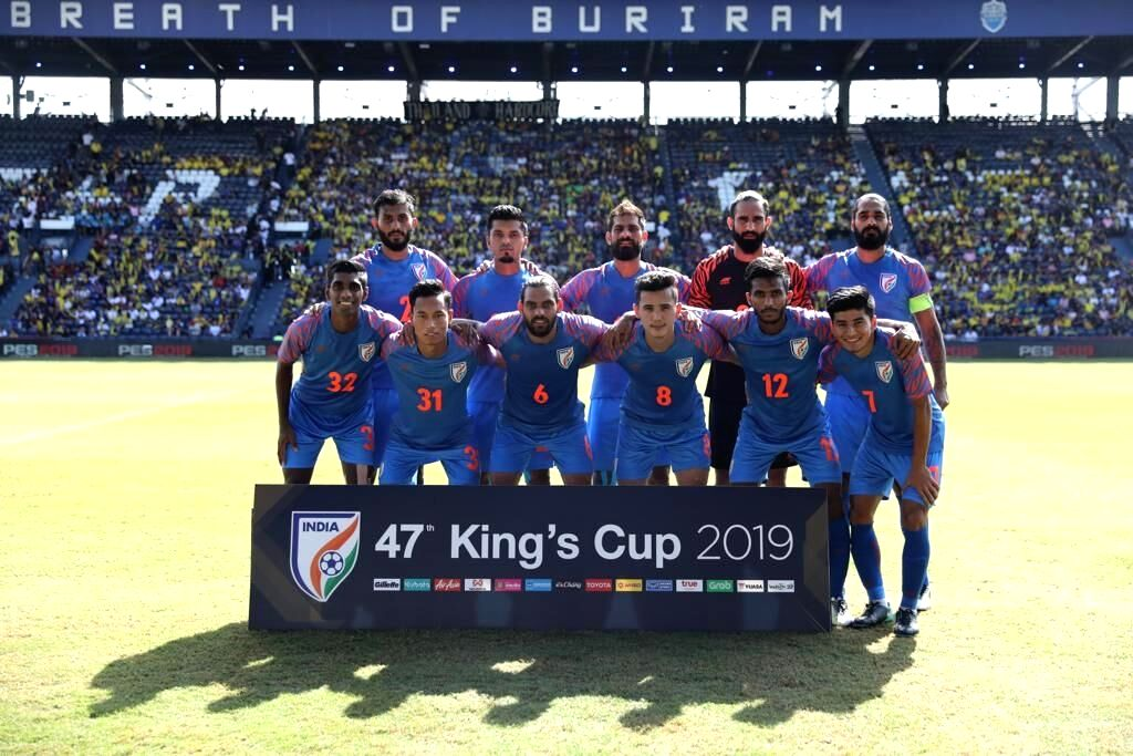 The Indian team ahead of the third-place play-off of the King's Cup against Thailand in Buriram, Thailand on June 8, 2019. India beat Thailand 1-0.