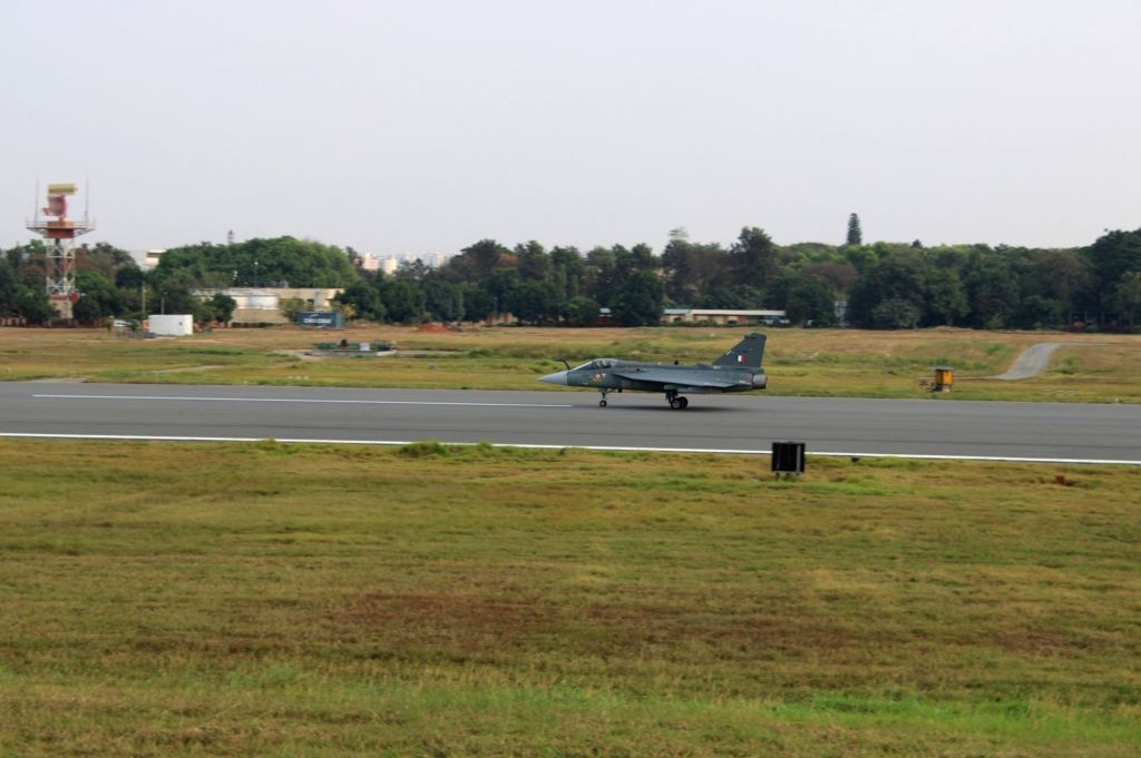 The indigenous Light Combat Aircraft (Tejas) on the HAL runway for maiden test flight in FOC standard in Bengaluru.