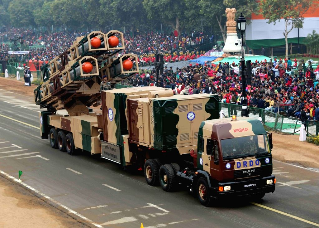 The indigenously developed Long Range Subsonic Cruise Missile,Nirbhay, which has the capability to fly at a very low altitude to evade radar detection, on the display at Rajpath during the ...