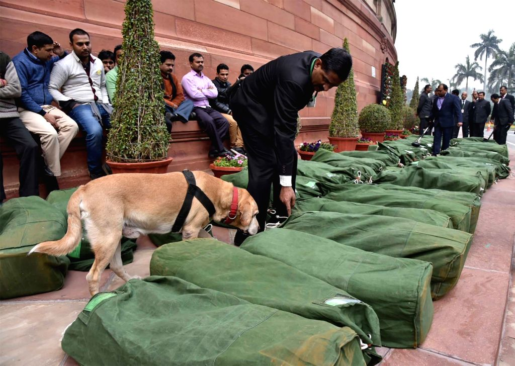 The Interim Budget 2019-20 documents being brought to Parliament premises under tight security, in New Delhi on Feb 1, 2019.
