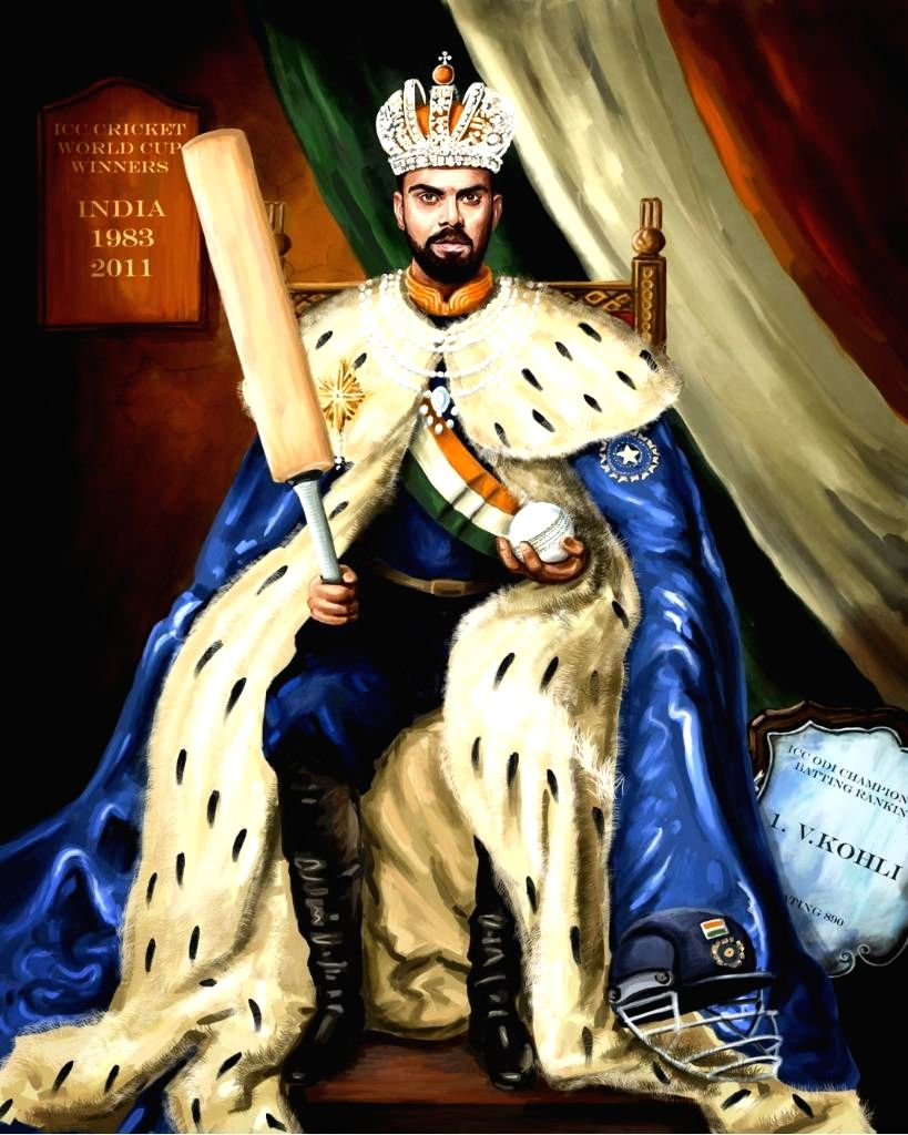 The International Cricket Council (ICC) has raised eyebrows by posting an illustration of India skipper Virat Kohli sitting on a throne with a crown on his head and a bat in hand on Twitter. The picture has seen some cricket fans fuming as they feel  - Virat Kohli