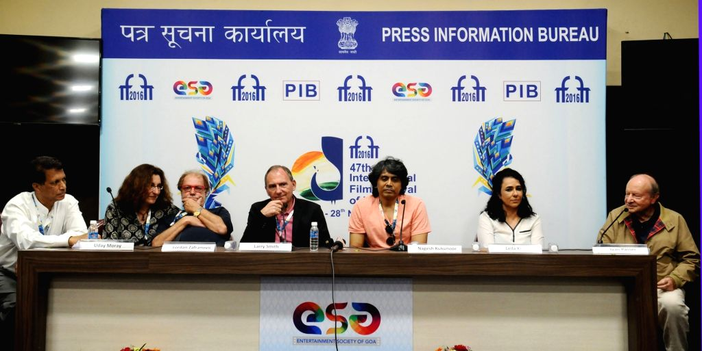 The International Jury Chairperson Ivan Passer along with the Jury Members Larry Smith, Lordan Zafranovic, Nagesh Kukunoor, Leila Kilani at a press conference, during the 47th International ...