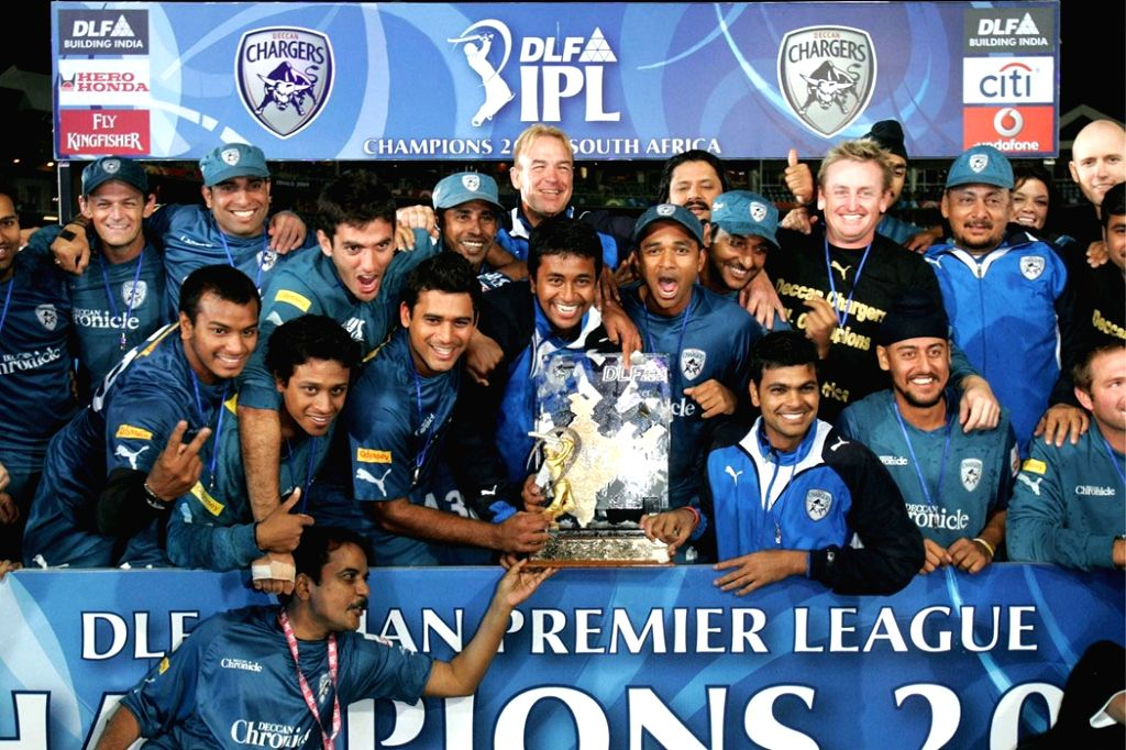 "The IPL winner 2009 team ""Deccan Charger"" celebrate their win at the Wanderers Stadium on Sunday night."