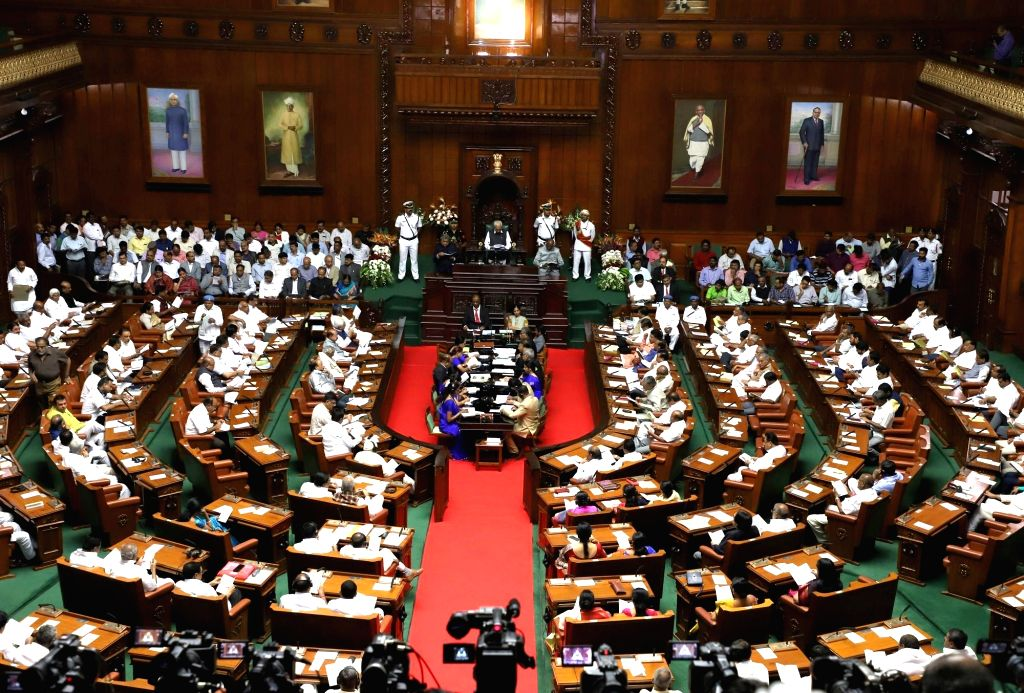 The joint session of Karnataka Assembly underway in Bengaluru on Feb 5, 2018.
