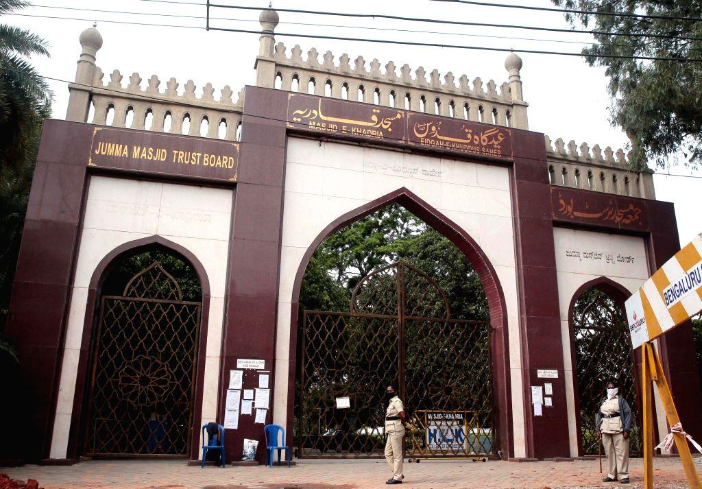 The Jumma Masjid remains closed on Eid-Ul-Adha in the wake of COVID-19 pandemic, in Bengaluru on Aug 1, 2020.
