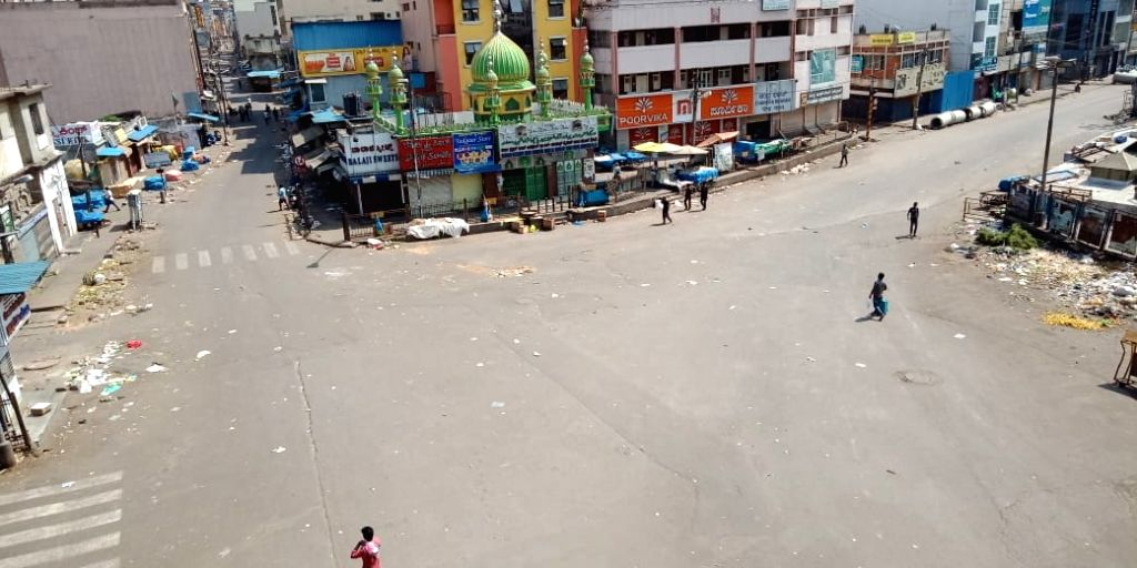 The K. R. Market (Krishna Rajendra Market) bears a deserted look during 'Janata Curfew' in Bengaluru on March 22, 2020.