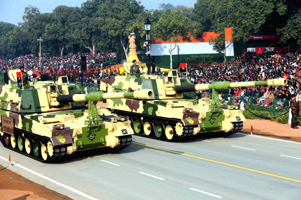 The K9 'Vajra' mobile howitzers roll down the Rajpath during the 71st Republic Day parade at Rajpath in New Delhi on Jan 26, 2020.