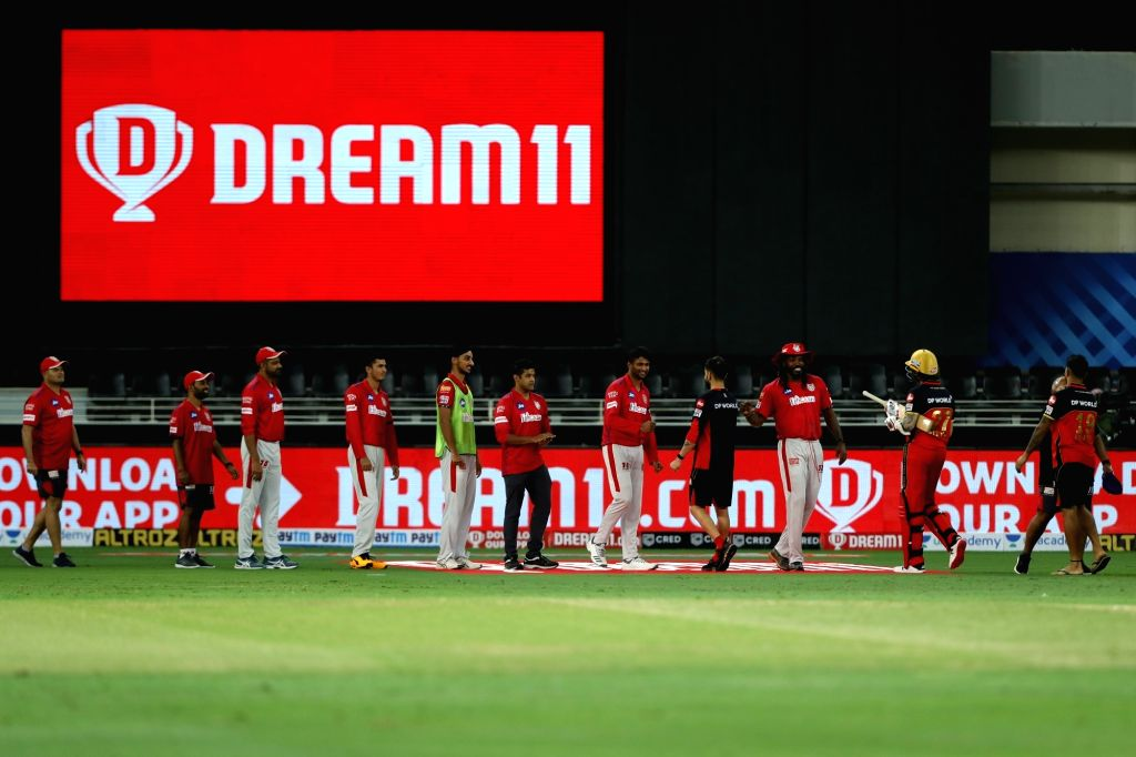 The Kings XI Punjab celebrating their win during match 6 of season 13, Dream 11 Indian Premier League (IPL) between Kings XI Punjab and Royal Challengers Bangalore held at the Dubai International ...