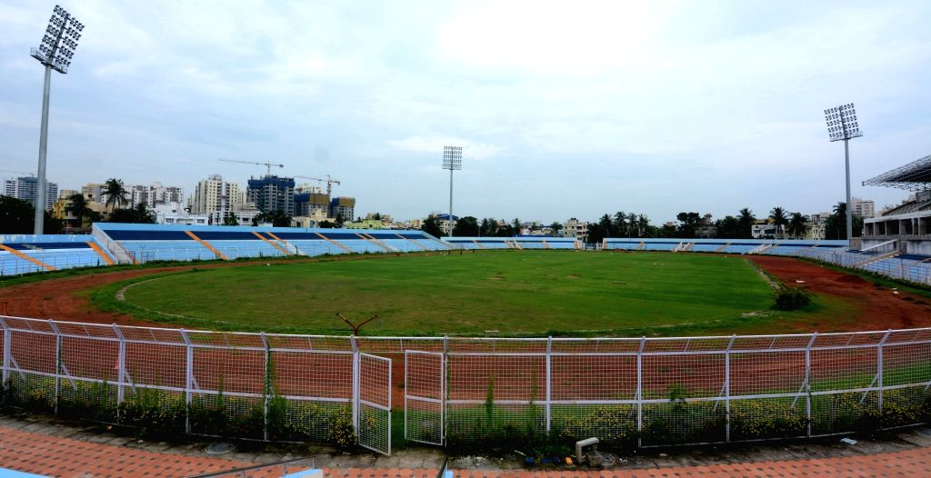 The Kishore Bharati Stadium that is being turned into a COVID isolation center, in Kolkata on Aug 12, 2020.