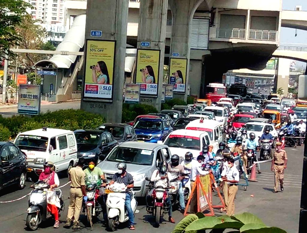 The Kukatpally flyover witnessed a massive traffic jam as the police stopped commuters for checking and interrogation on Day 7 of the 21-day nationwide lockdown imposed as a measure to ...