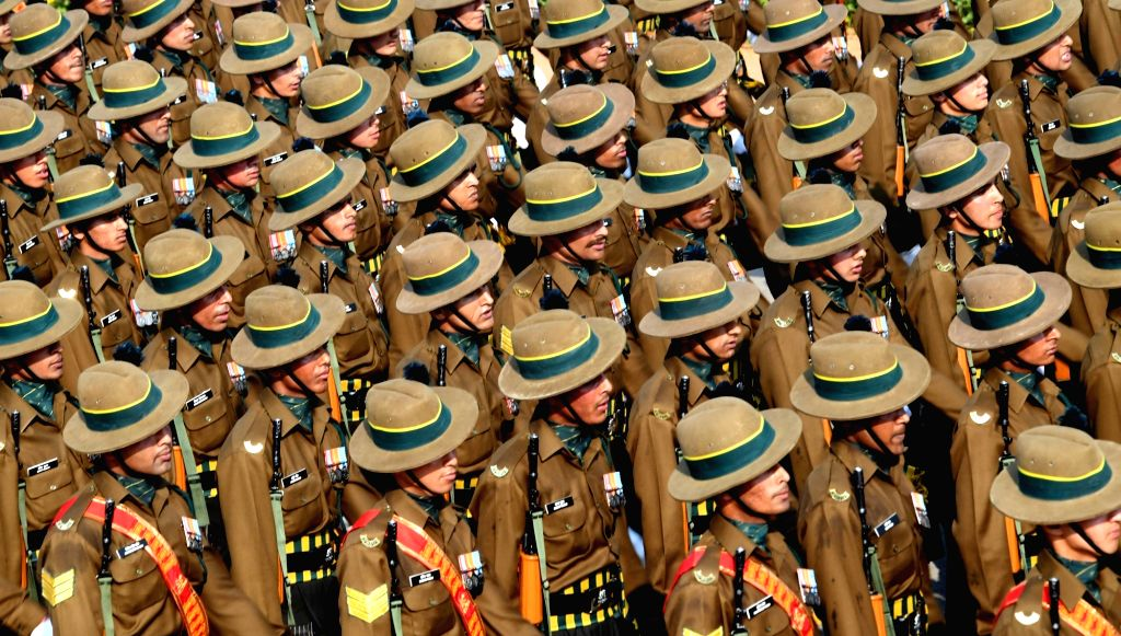 The Kumaon Regiment marches past Rajpath during the 71st Republic Day parade, in New Delhi on Jan 26, 2020.