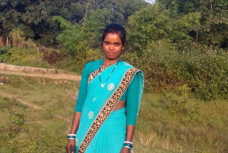 The lady farmer Kranti who was honoured with Krishi Karman Award.