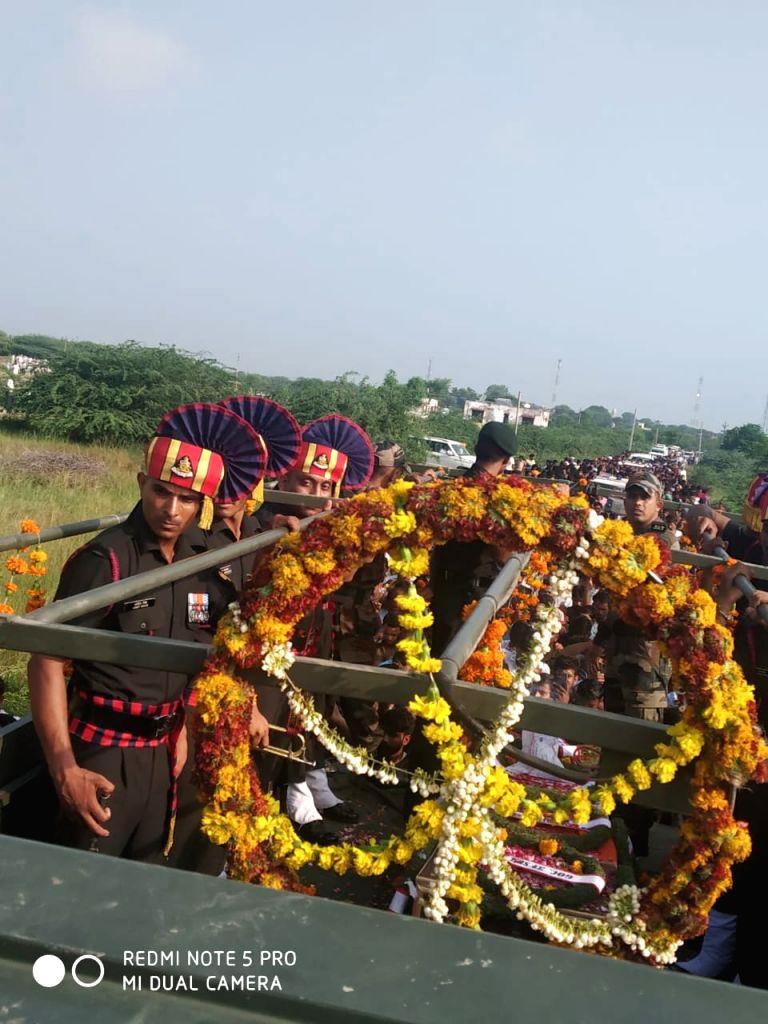 The last rites of Grenadier Hemraj Jat, who got martyred in ceasefire violation by the Pakistan in Jammu and Kashmir's Poonch sector on Sep 1, underway in Rajasthan's Kishangarh on Sep 3, ...