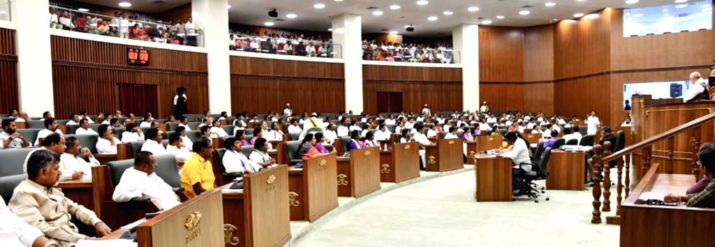 The leader of opposition in Andhra Pradesh Legislative Assembly and TDP MLA N. Chandrababu Naidu on the second day of the first session of the new state Assembly, in Amaravati on June 13, ... - N. Chandrababu Naidu