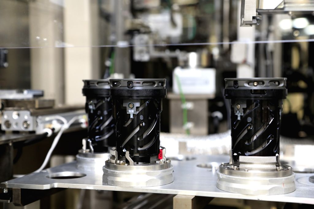 The lens barrel being manufactured at Canon's Utsunomiya plant in Japan.