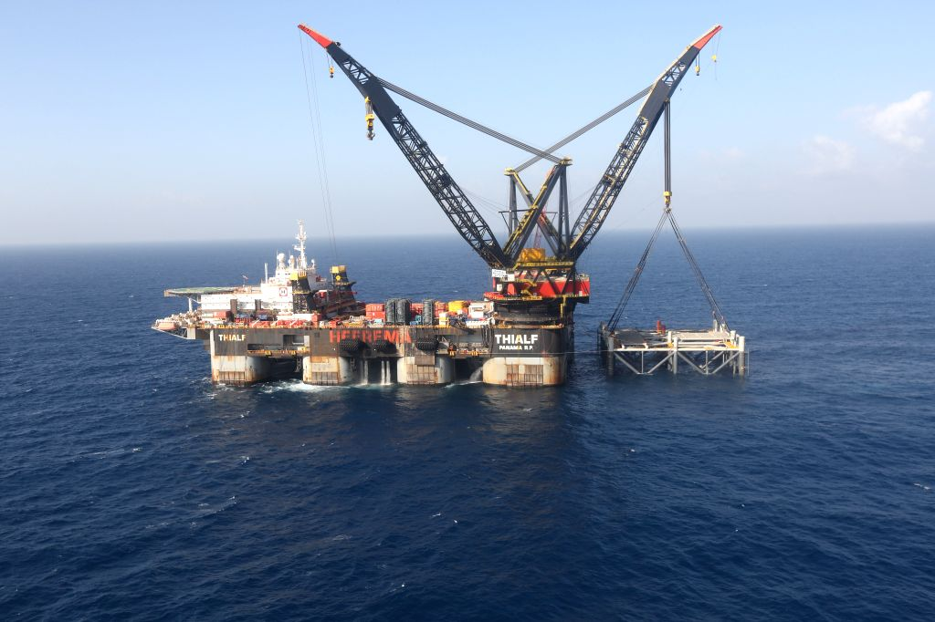 The Leviathan gas platform of Noble Energy is under construction in the Mediterranean Sea, some 10 kilometers off the Israeli coast, on Jan. 31, 2019. ...