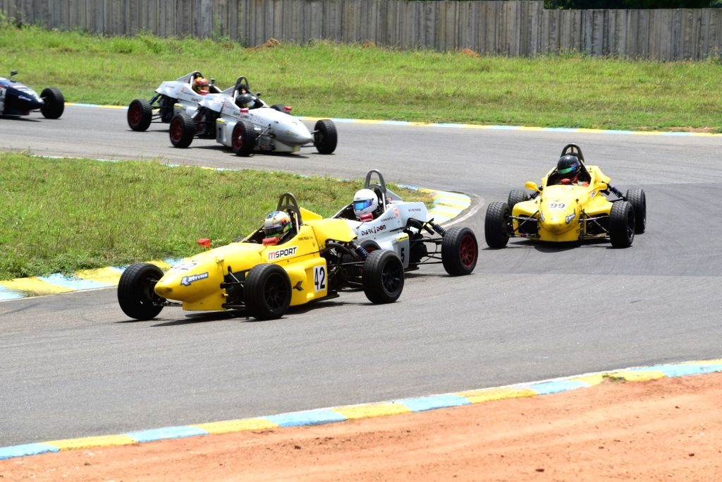The LGB Formula 4 car in action.
